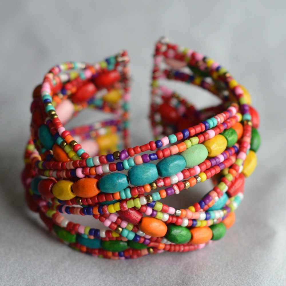 Most Popular Multicolor seed Beads Wooden Woven bracelet For women