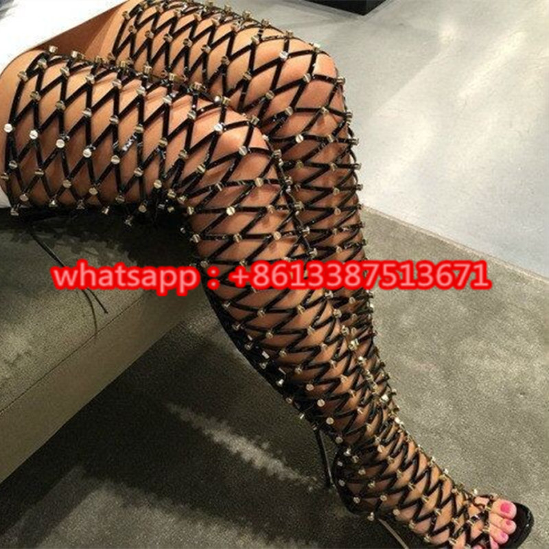 Sexy Black Strappy Studded Thigh High Women Boots Cut Outs Peep Toe Back Zipper Up Gladiator Knee Sandals Long Boots Shoes Woman brand designer faux leather strappy roman goth gladiator thong lace up bandage sandals knee high boots flat shoes free shipping