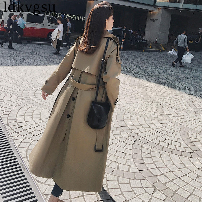 2019 new Casual Windbreaker Female Long section Korean Spring Autumn Double breasted belt Trench Coats for Women Overcoats V424