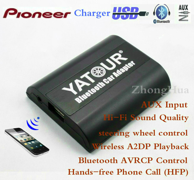 Yatour YT-BTA Bluetooth Hands-free Phone Call for Pioneer Head units Wireless A2DP Playback Car Adapter Free shipping