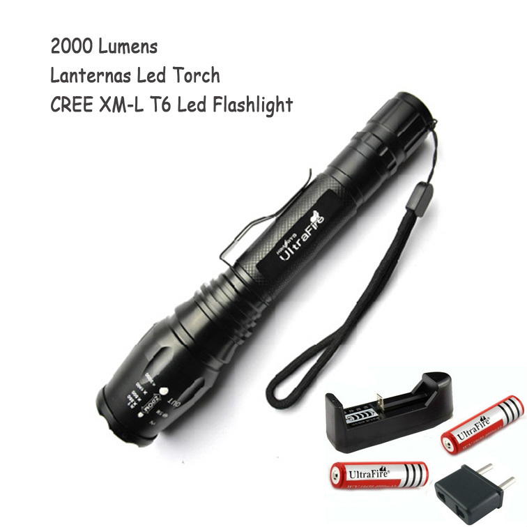 Best Quality Ultra Bright CREE XM-L T6 LED Flashlight 5 Modes 2000 Lumens Lumen Torch Tactical Torch Light For 18650 Battery top quality ultra bright cree xm l t6 led flashlight 5 modes 3000 lumens zoomable led torch light for 3xaaa or 1x18650 battery