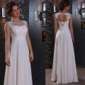 Fashion Chiffon Empire Waist Wedding Dress Heart Back Maternity Beach Plus Size Chiffon Lace Bridal Gown vestido de noiva LBC18