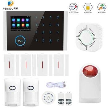 Wi-fi GSM sistema de alarme PSTN 3 em 1 desgian teclado touch display LCD de controle do relé de alarme da segurança home kit APP controle