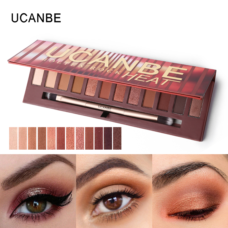 UCANBE NEW 12 Colors Heat Eyeshadow Palette Shimmer Matte Amber Neutral Eyeshadow Kit Makeup Long Lasting Silky Warm Smoky Eyes 2016 fashion winter women shoes sexy pointed toe platform thin heel high heels big size 32 46 solid pu lace up ankle boots
