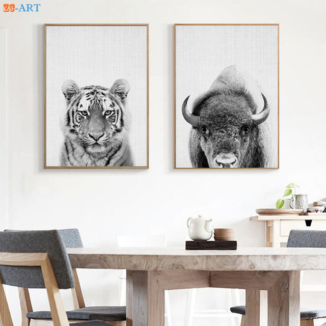 Buffalo Bison Tiger Prints Animal Nursery Decor Wilderness Wall Art ...
