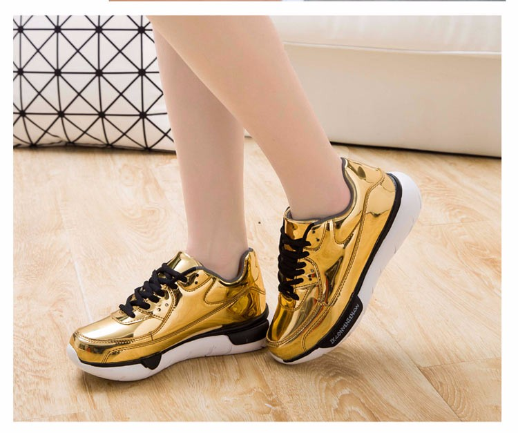 Mirror Surface Women 90 Casual Shoes Fashion Spring Lace Up Platform Womens Shoes Low Top Lace Up Trainers Women Gold Shoes YD52 (13)