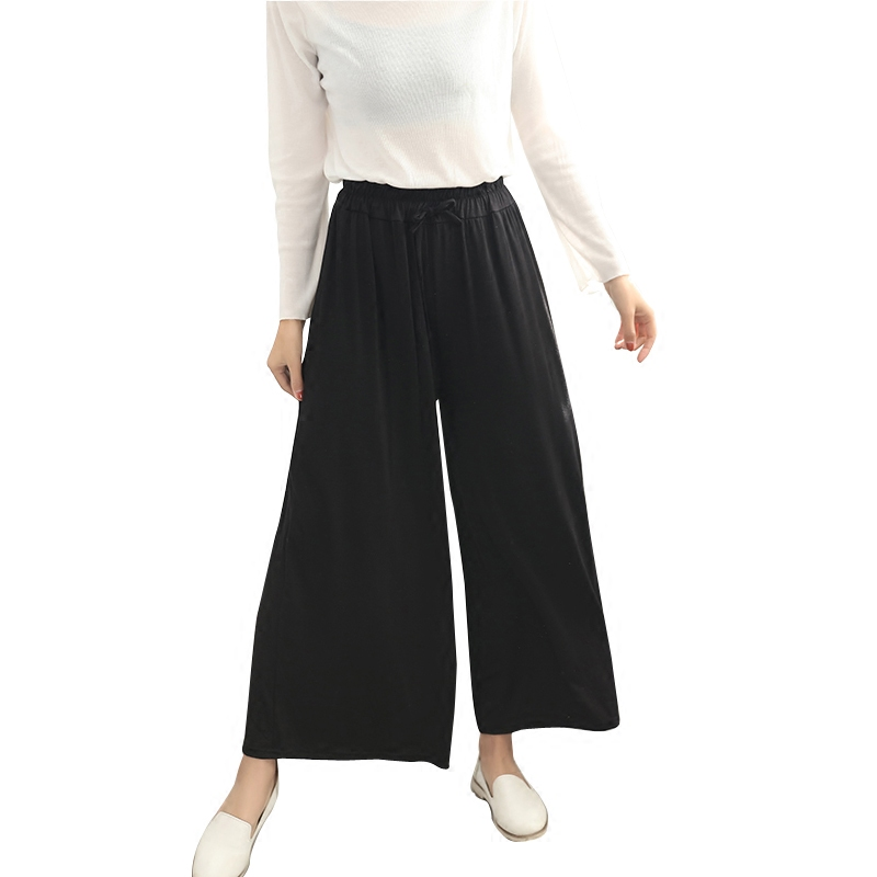 New Spring Summer Fashion High Waist Cotton Wide Leg Pants Female Plus Size Loose Casual Nine Yards Pants Trouser For Women D102