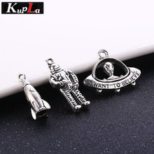 Vintage Silver Metal Charms Classic Fashion DIY Accessories Handmade Alien Rocket Space Charms for Jewelry 30pieces/lot vintage metal mixed angel wings charms diy handmade classic accessories fashion charms for jewelry making 100pieces lot