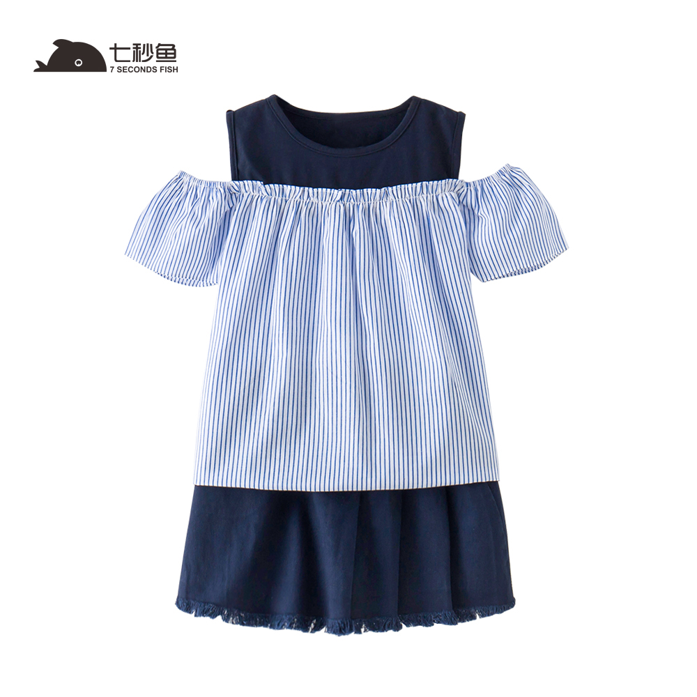 2018 new fashion girls summer dress sets  strapless patchwork kids summer clothes for 5-12 year 7 seconds fish brand fashion girls dress 2018 summer new