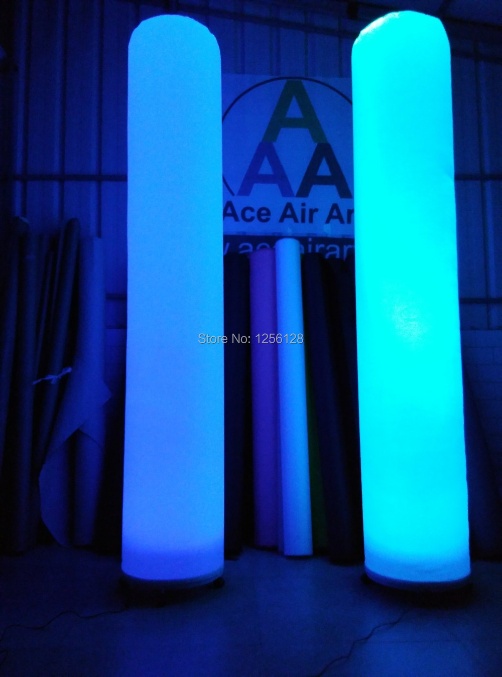 portable and reuse 2.4m H colorful lighting decorative inflatable wedding columns air roman column
