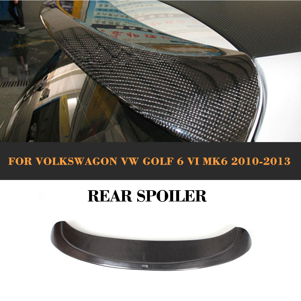 A Styling Carbon Fiber rear roof boot lip wing spoiler for VW Golf VI MK6 2010 2013
