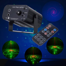 DJ Laser stage system light Colorfull 48 Patterns Projector lamp sounds/remote control LED Stage laser Effect Lighting for Party(China)