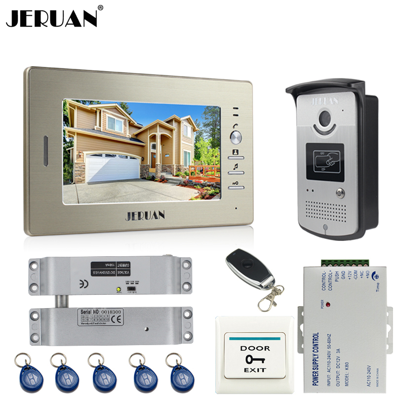 JERUAN 7``LCD Screen Video Intercom Video Door Phone Handsfree System access control system+700TVL Camera+Electric Bolt lock jeruan two 7 monitors lcd screen video intercom video door phone handsfree access control system 700tvl camera cathode lock