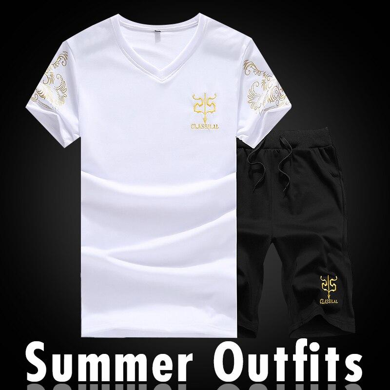Summer Set Men's Shorts Casual Cropped Suits Sportswear 2019 Mens Clothing Sets T Shirt Top + Shorts Male Sweatshirt Hoodies Boy