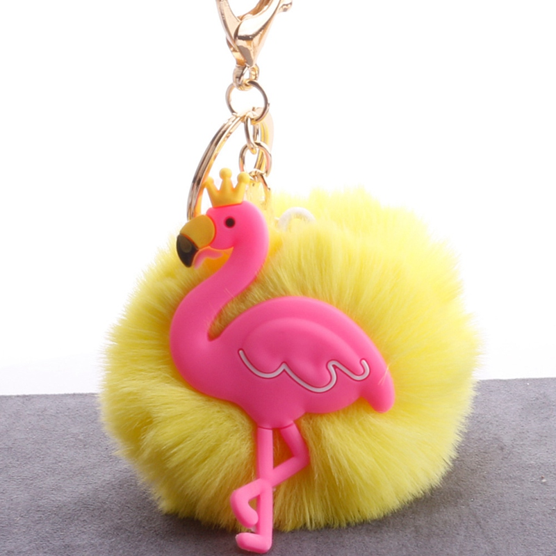 Rabbit Fur Flamingo Keychain