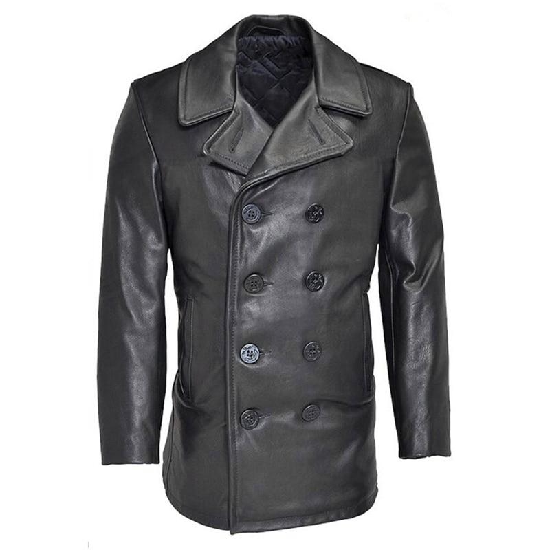 Leggere la Descrizione! Formato asiatico inverno vera pelle di mucca giacca classiche da uomo della pelle bovina di cuoio del vento del cappotto pisello