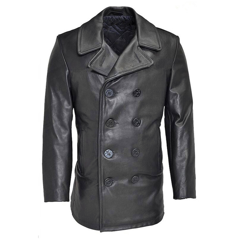 Compare Prices on Leather Pea Coat for Men- Online Shopping/Buy ...