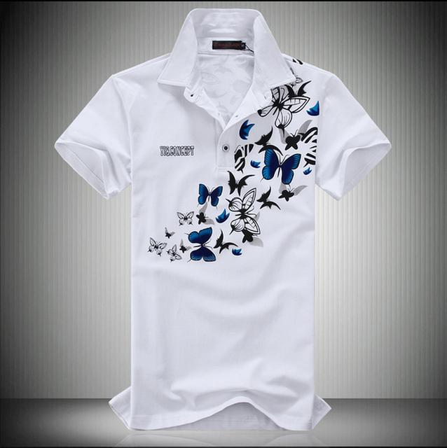 Más el Tamaño de Impresión de La Mariposa Polo 6XL 5XL Verano Algodón de la Marca Polo Homme Hombres Camisa de Polo de Manga Corta Blanca Negro 2016 Nueva Llegada