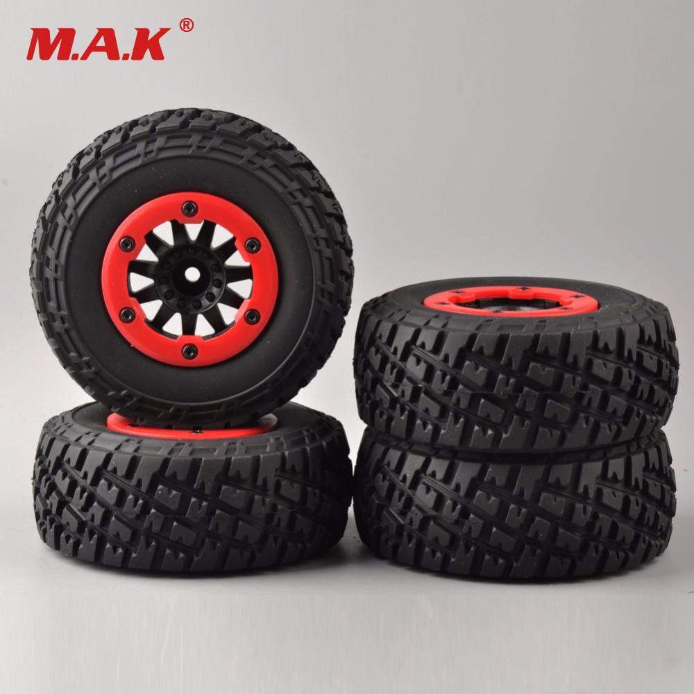 4 PCS/Set RC 1:10 Short Course Truck Tires Set Tyre Wheel Rim For TRAXXAS SlASH HPI Remote Control Car Model Toy Parts