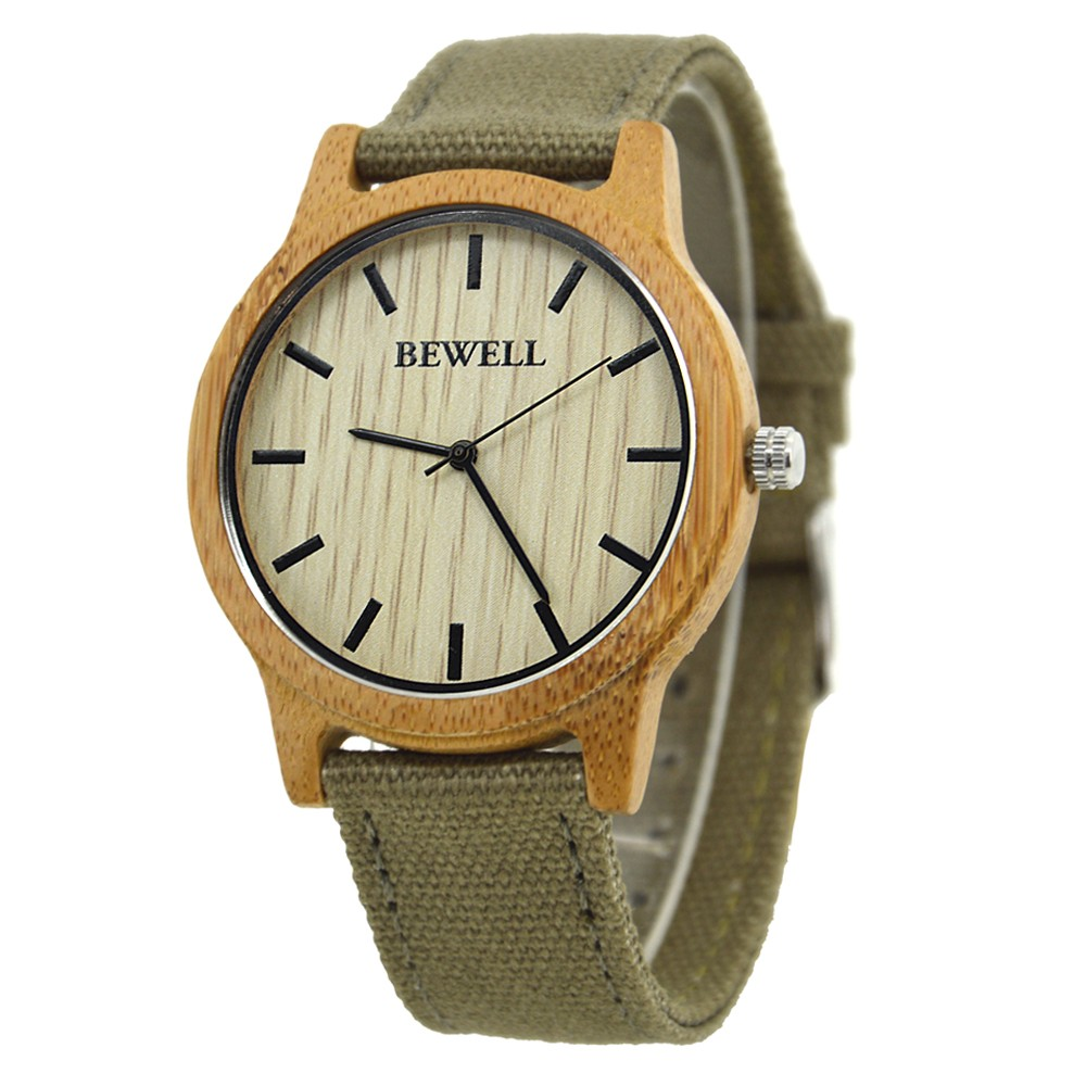 BEWELL Bamboo Wood Watch Analog Digital For Men 56