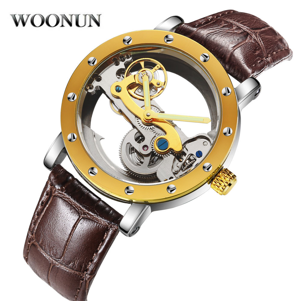 New Man's Watches WOONUN Automatic Mechanical Watch Skeleton Transparent Hollowed-out Wristwatch 3ATM Water Resistant футболка мужская oodji basic цвет ярко розовый 5b621002m 44135n 4d00n размер s 46 48
