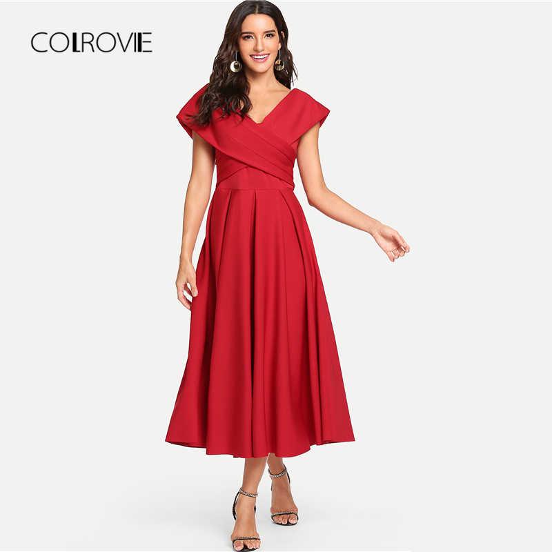 COLROVIE Red Elegant V Neck Box Pleated Cross Wrap Bardot Party Dress 2018 Autumn Flounce Sleeve  A Line Long Dress Women Dress