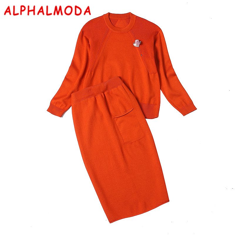 ALPHALMODA Winter Women's Sweater 2pcs Suits Skirt Sets