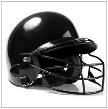 2019 Mounchain Unisex Baseball Helmet Breathable Ears Face Full Protection Safety Head Guard - black