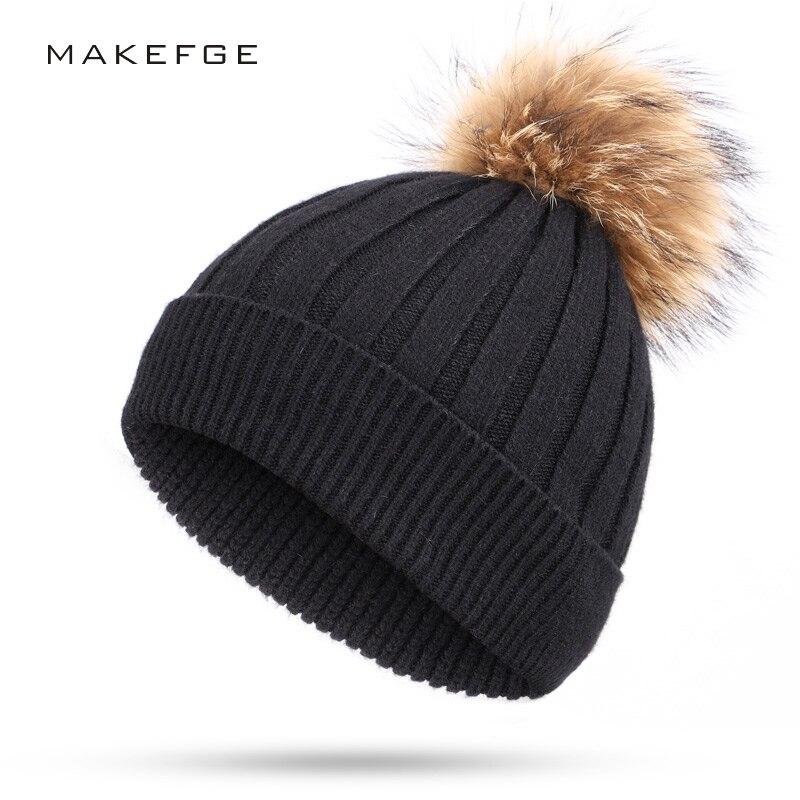1dde2bc66b98a New Women s Knit Winter Hats Unisex Men s Warm Comfort Ski caps Solid Color  Fleece Raccoon Fur Pom Pom slouchy beanie skullies