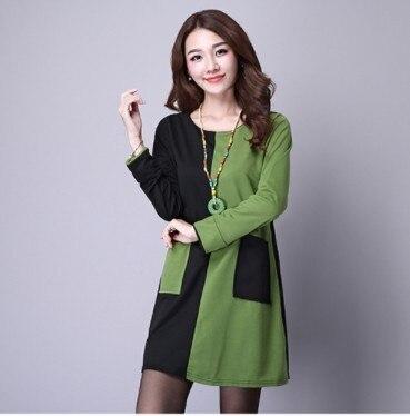 2018 Spring Dress Office Long Sleeve Cotton Dress Mori Patchwork Vintage  Dress Plus Size Women Clothing AW417