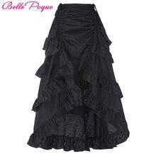 Belle Poque 2017 Women Gothic Skirt Retro Vintage Women Black Costume Cotton High-Low Ladies Ruffle Punk Skirt Saia Midi Skirts