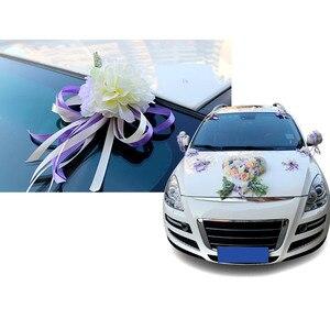 Image 5 - Décoration de porte de mariée, miroir de voiture, ruban de fleurs artificielles, pour fête de mariage, HG99