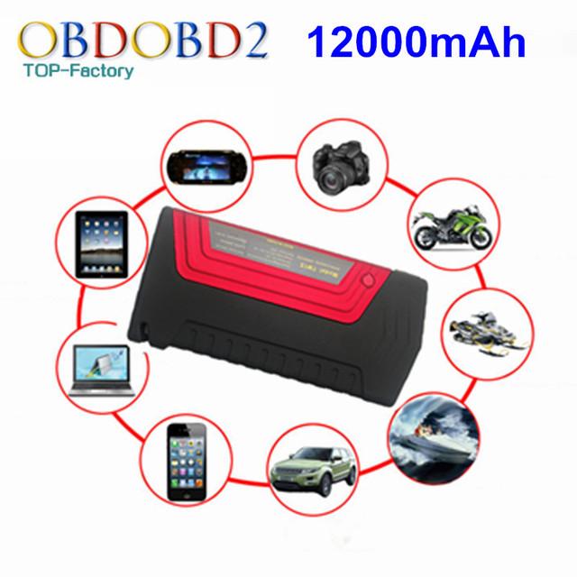 High Quality 12000mAh Red Car Jump Starter For Electronics Mobile Laptop With Safety Hammer Auto Engine Emergency Battery