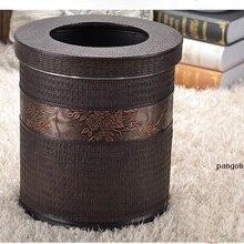10л круглый двухслойный металлический кожаный мусорный бак для мусора мусорное ведро для хранения мусорное ведро с крышкой для дома отель 384A