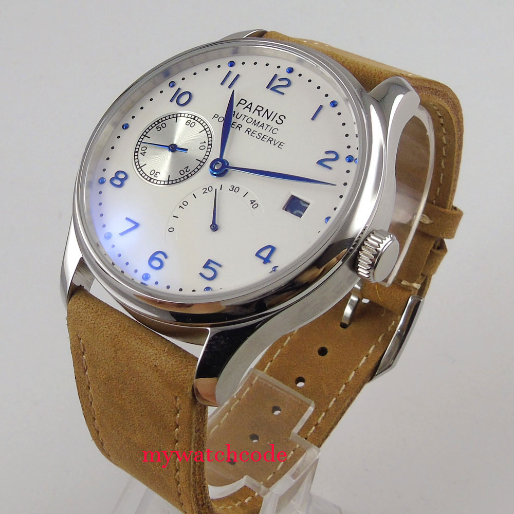 43mm parnis white dial brown strap power reserve <font><b>ST2530</b></font> automatic mens watch image