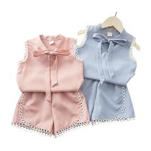 Baby Suits Solid Color Sleeveless Top+Pants with Bowknot Decoration Clothes