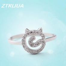 Temperament Popular 925 Sterling Silver Fashion Simple Zircon Crystal Cute Cat  Ring Korean Jewelry Allergy        SR58