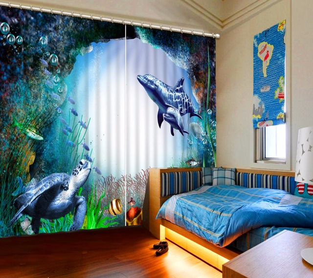 Curtains For Children Customize 3d Underwater World Dolphin Turtle Scenery Kitchen Bedroom Luxury