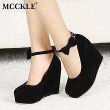 Mcckle/Для женщин высокий каблук элегантные клинья свадебные туфли-лодочки под платье женские из флока на платформе Пряжка Ремешок на щиколотке Туфли с бантиками плюс Размеры