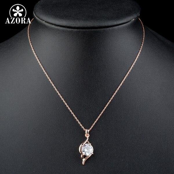 AZORA ružičasta zlatna boja jasno kubni cirkonij privjesak ogrlica - Modni nakit - Foto 4
