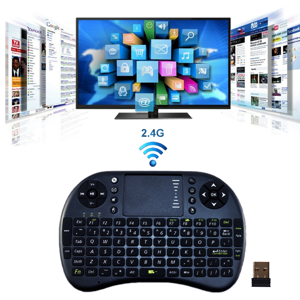 Bardzo dobra jakość 2.4G Wireless Akumulator Mini klawiatura Touchpad Remote Control dla Android TV BOX Mini PC projektor