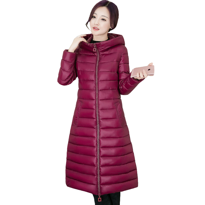 Winter jacket women long coat zipper hooded padded jacket fashion coat plus size femela slim down cotton jacket outerwear QH0690
