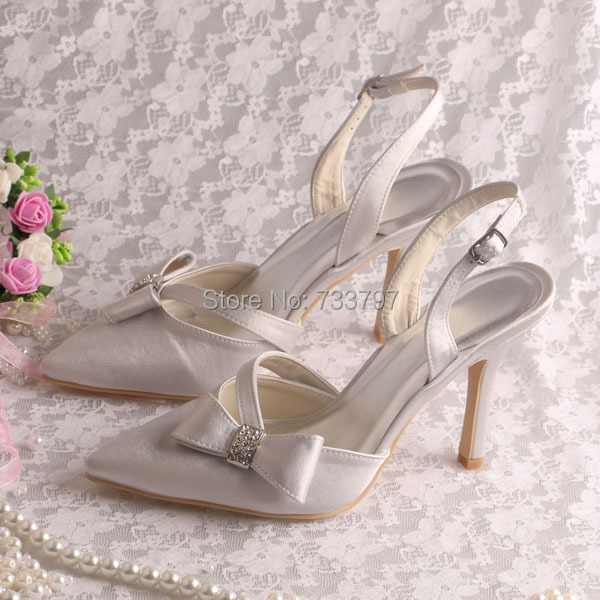 (20 Colors) New Style Light Grey Satin Wedding Bridal Sandals Pointed Toe High Heel
