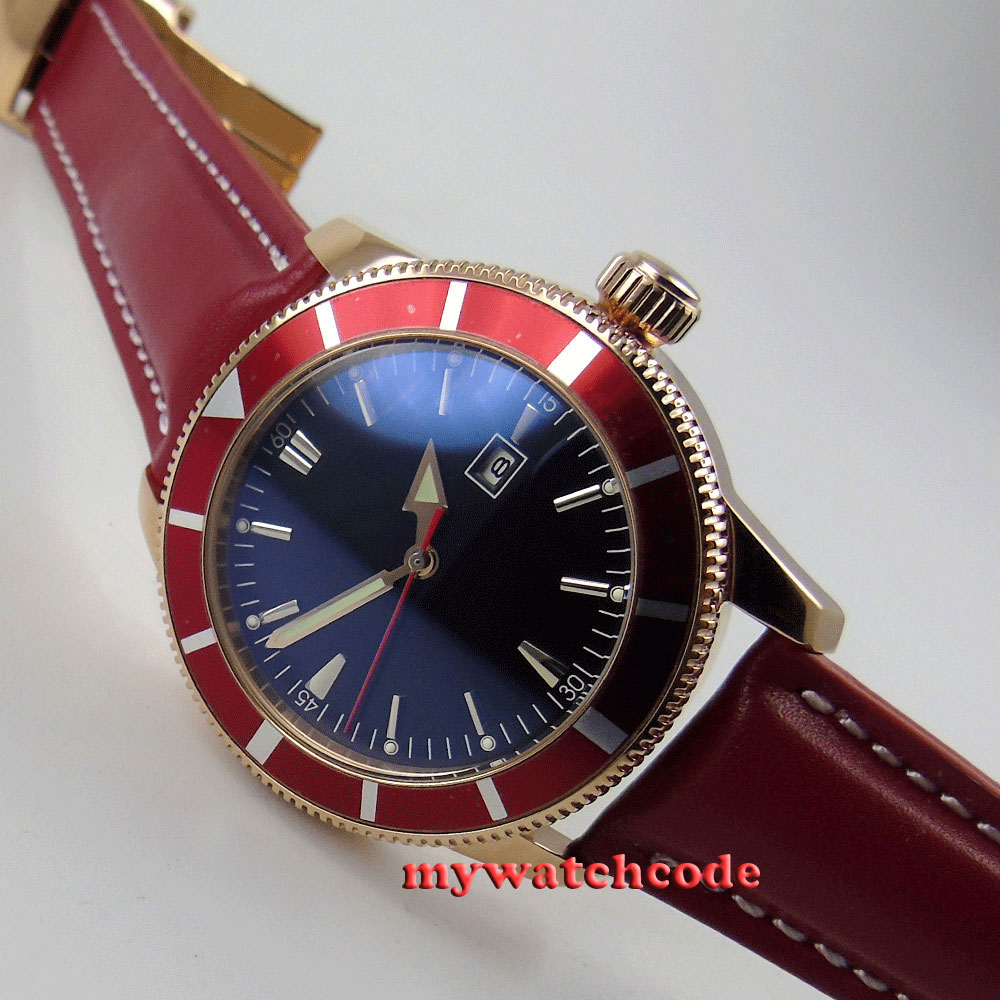 46mm black dial red bezel rose golden case automatic mens watch 15 цена и фото