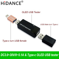 Type-c OLED 128x64 USB tester DC current  voltage voltmeter Power Bank battery Capacity monitor qc3.0 Phone charger Meters 3-30V