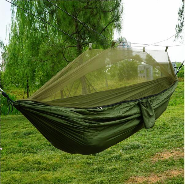 Nouveau hamac moustiquaire en nylon pour le tourisme contrôle des moustiques parachute tissu balançoire armée vert double hamac à l'extérieur