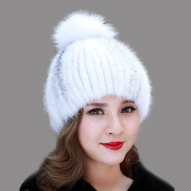 Genuine Fur Mink Pompom Hats for Women Winter Real Fur Beanies Caps Elastic Handmade Knitted Hat with fox ball Headwear LQ11070