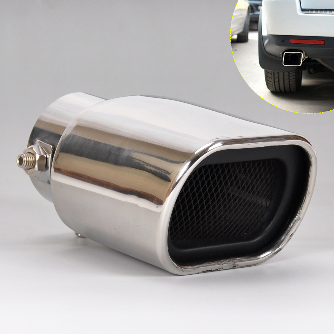 CITALL 1Pc Universal Straight Stainless Steel Exhaust Tail Rear Muffler Tip Pipe for VW Nissan Peugeot Toyota Mini Rover Skoda