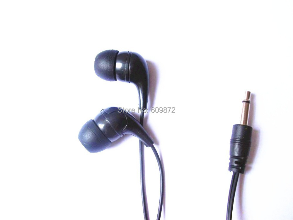 Disposable mono earphones cheap earbud widely use in hospitals, airlines, prisons, 1.8M cord,  5pcs/lot