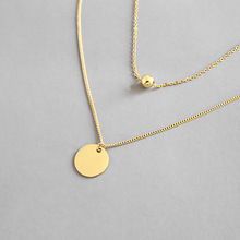 HFYK Gold Double Chain Round Pendant Necklaces For Women 925 Sterling Silver Necklace Jewelry Collares Collier Femme Kolye tongzhe sterling silver 925 necklaces jewelry round cz turkish evil eye necklace women necklace pendant fine jewelry kolye sale